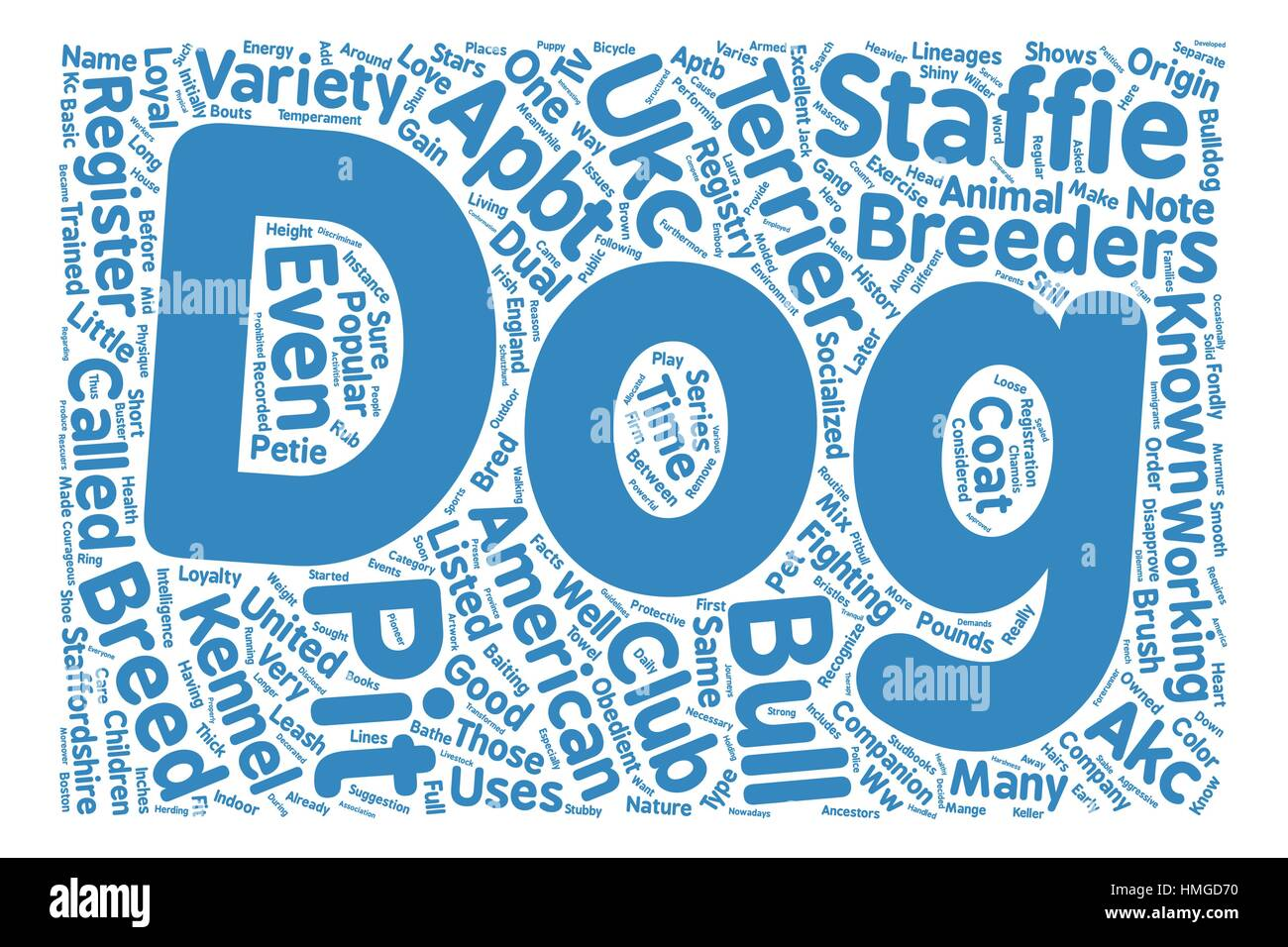 bull dog pit terrier text background wordcloud concept - Stock Image