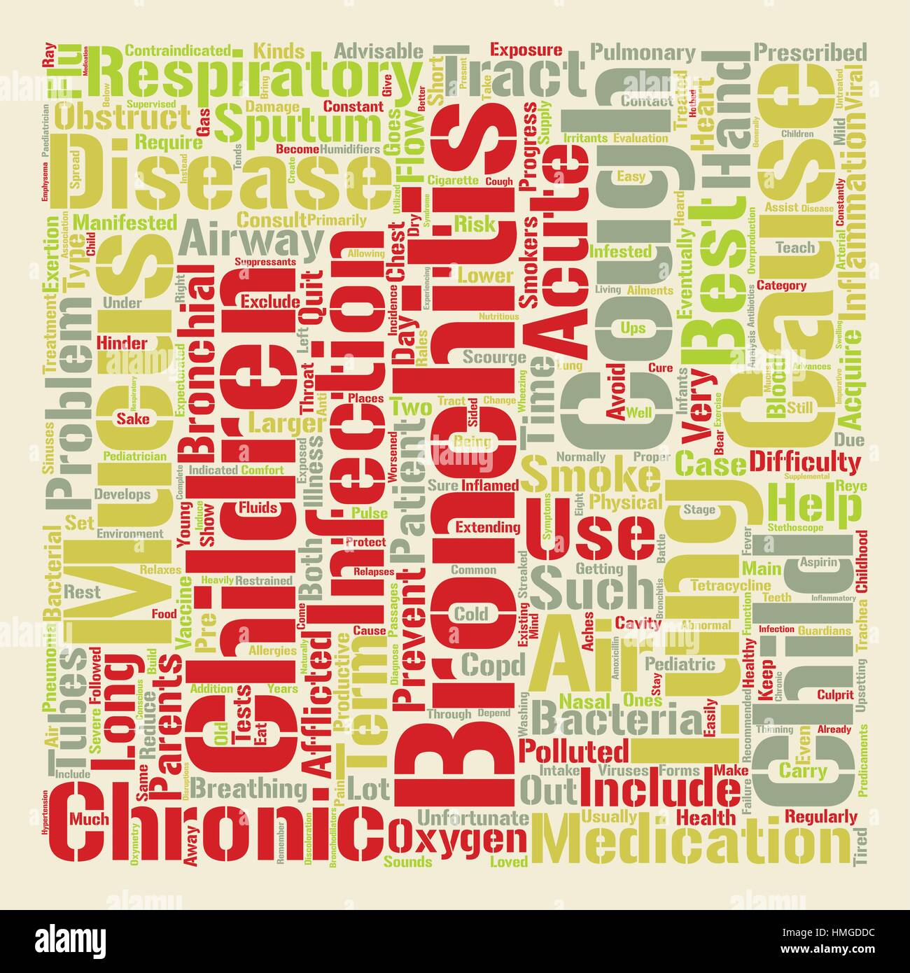 bronchitis in child text background word cloud concept - Stock Image
