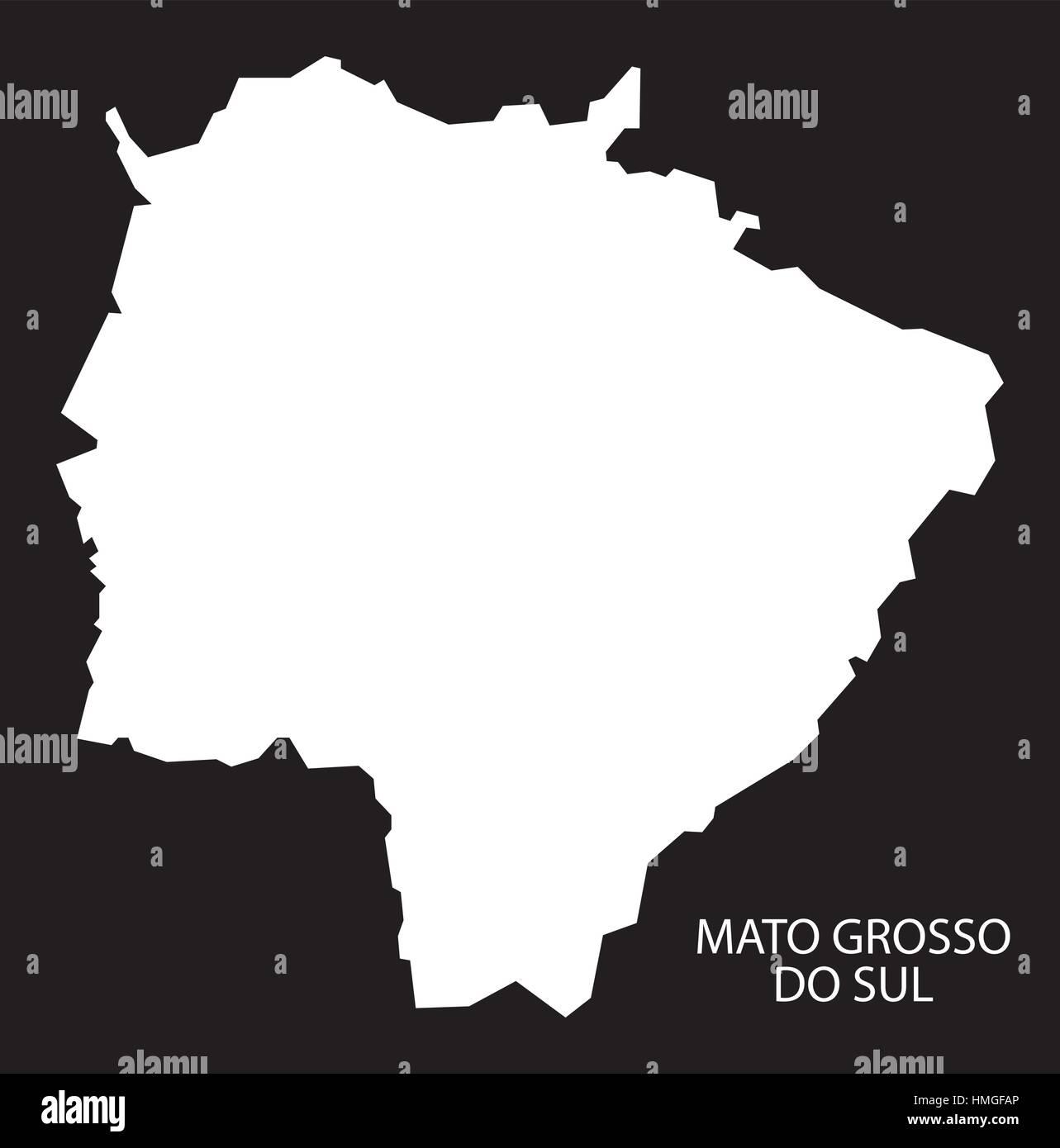 Mato Grosso do sul Brazil Map black inverted silhouette Stock Vector
