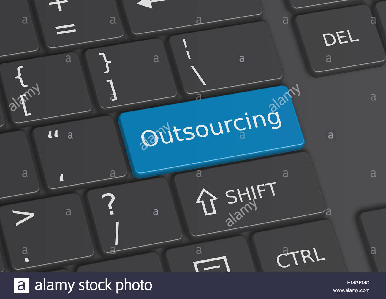 The word Outsourcing written on a blue key from the keyboard - Stock Image