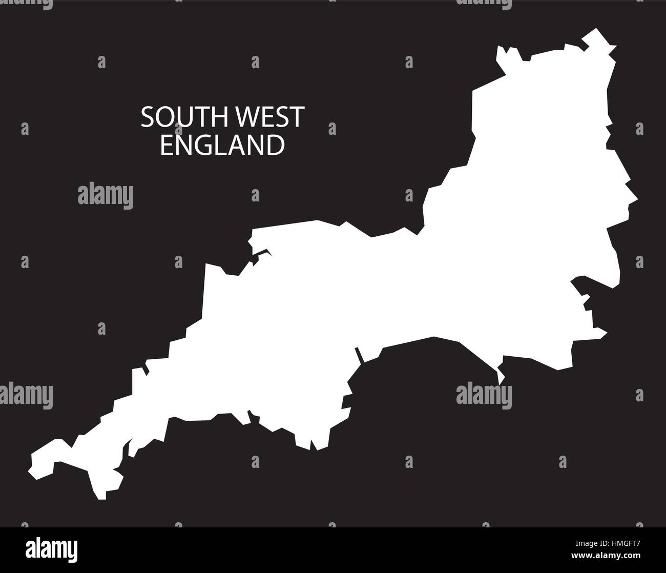 Map Of The South West Of England.South West England Map Black Inverted Silhouette Stock Vector Art