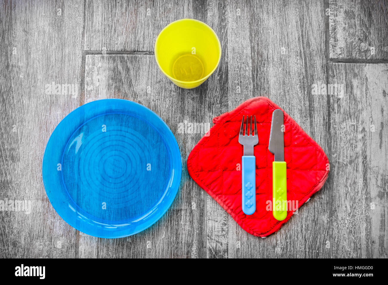 children cutlery silverware baby background colorful - Stock Image
