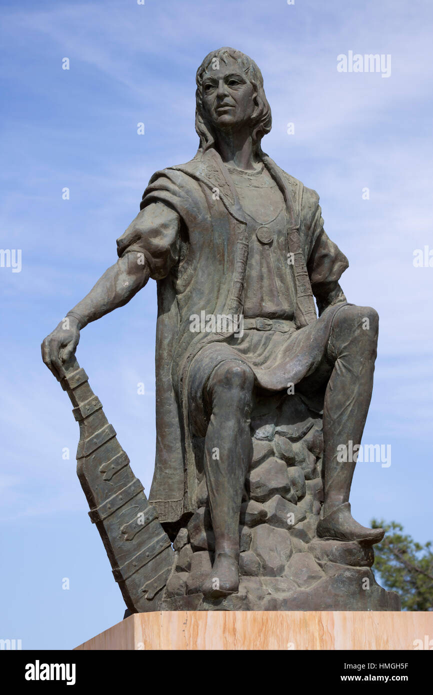 Statue of the discoverer Christopher Columbus at the monastery of La Rabida, La Rabida, near Huelva, Costa de la - Stock Image
