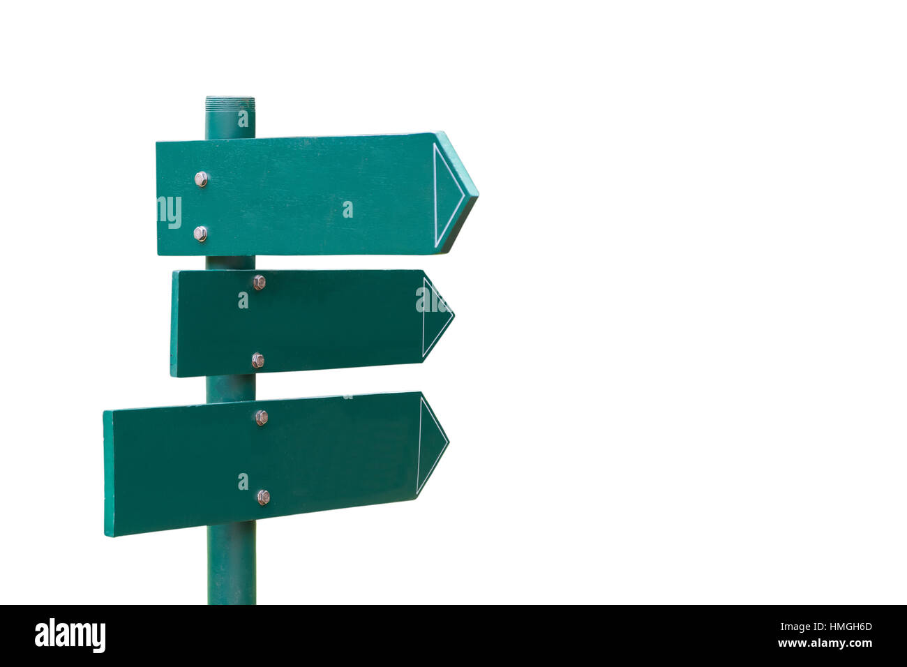 Green direction signs isolated on white background. - Stock Image