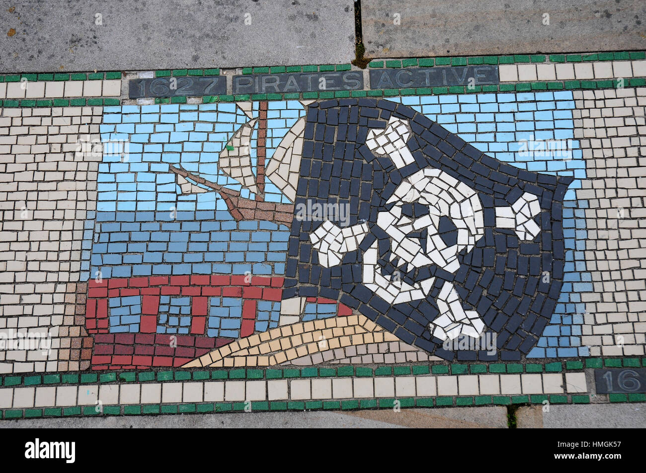 Mosaic pavement depicting the year pirates were active around Barnstaple. - Stock Image