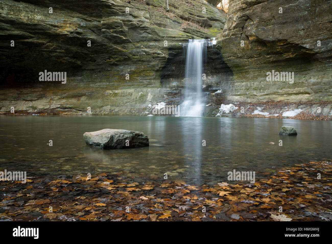 Water cascade in the Lower Dells.  Matthiessen State Park, Illinois, U.S.A.. - Stock Image