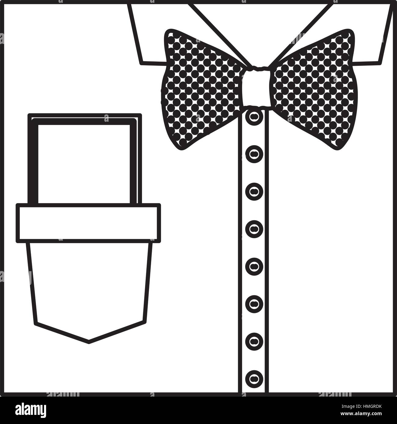 Square Border Silhouette Close Up Formal Shirt With Bow Tie And Note Diagram Vector Illustration