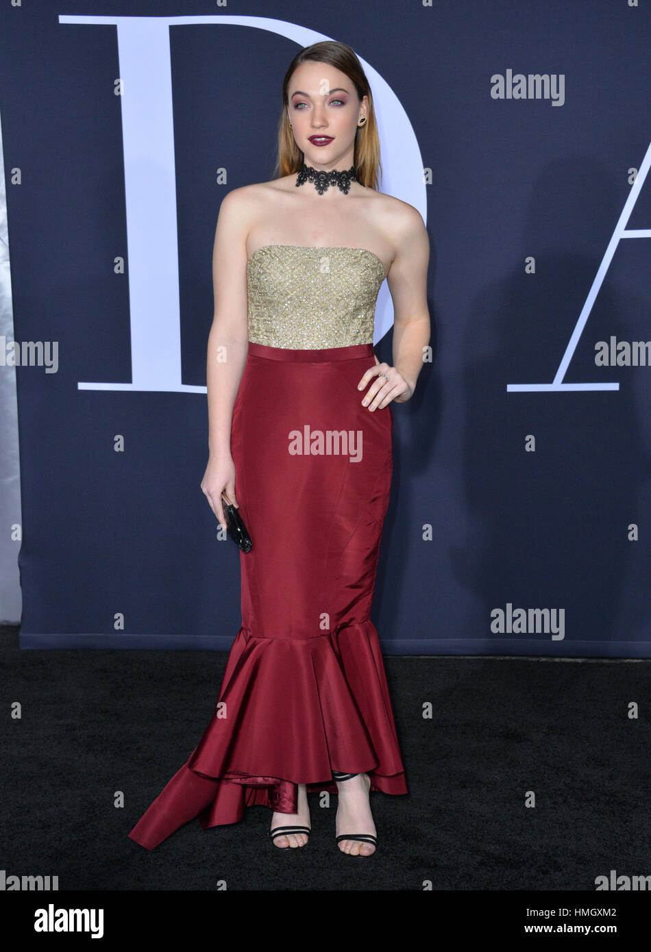 "Los Angeles, California, USA. 2nd February 2017. Actress Violett Beane at the premiere of ""Fifty Shades Darker"" Stock Photo"