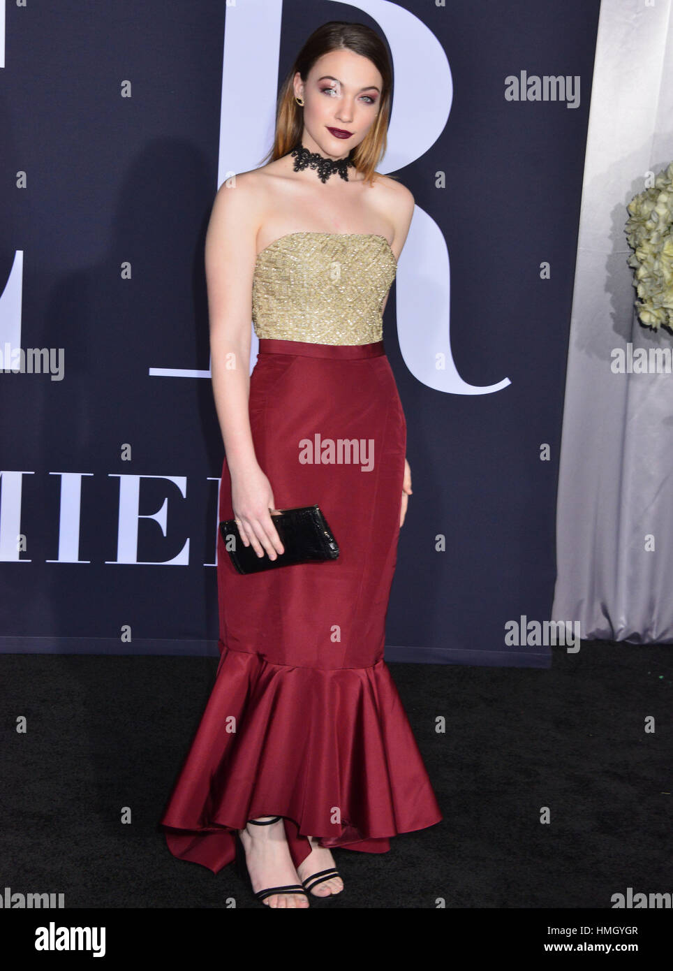 Los Angeles, USA. 02nd Feb, 2017. Violett Beane 113 arriving at the Fifty Shades Darker premiere at the ACE Hotel Stock Photo