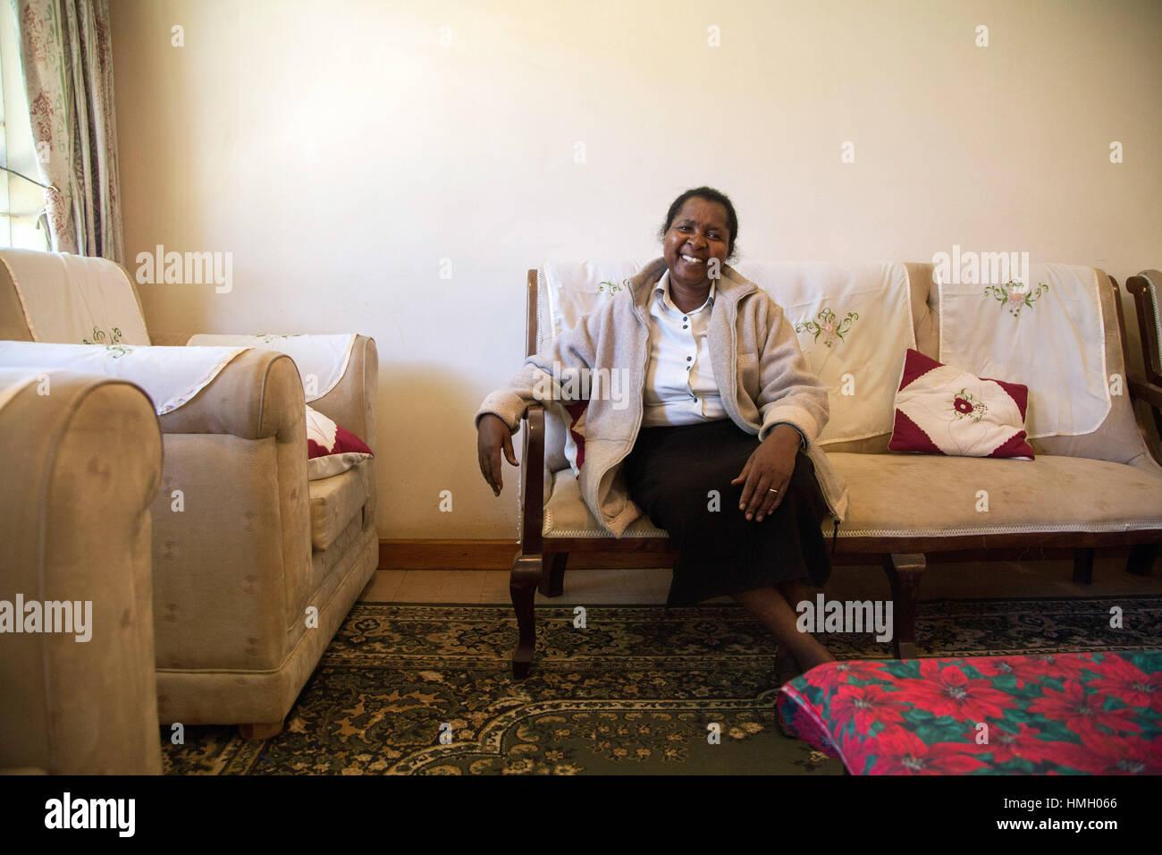 Nairobi, Kenya. 11th Jan, 2017. Ephigenia Gachiri sits in the Catholic Loreto abbey in Nairobi, Kenya, 11 January - Stock Image