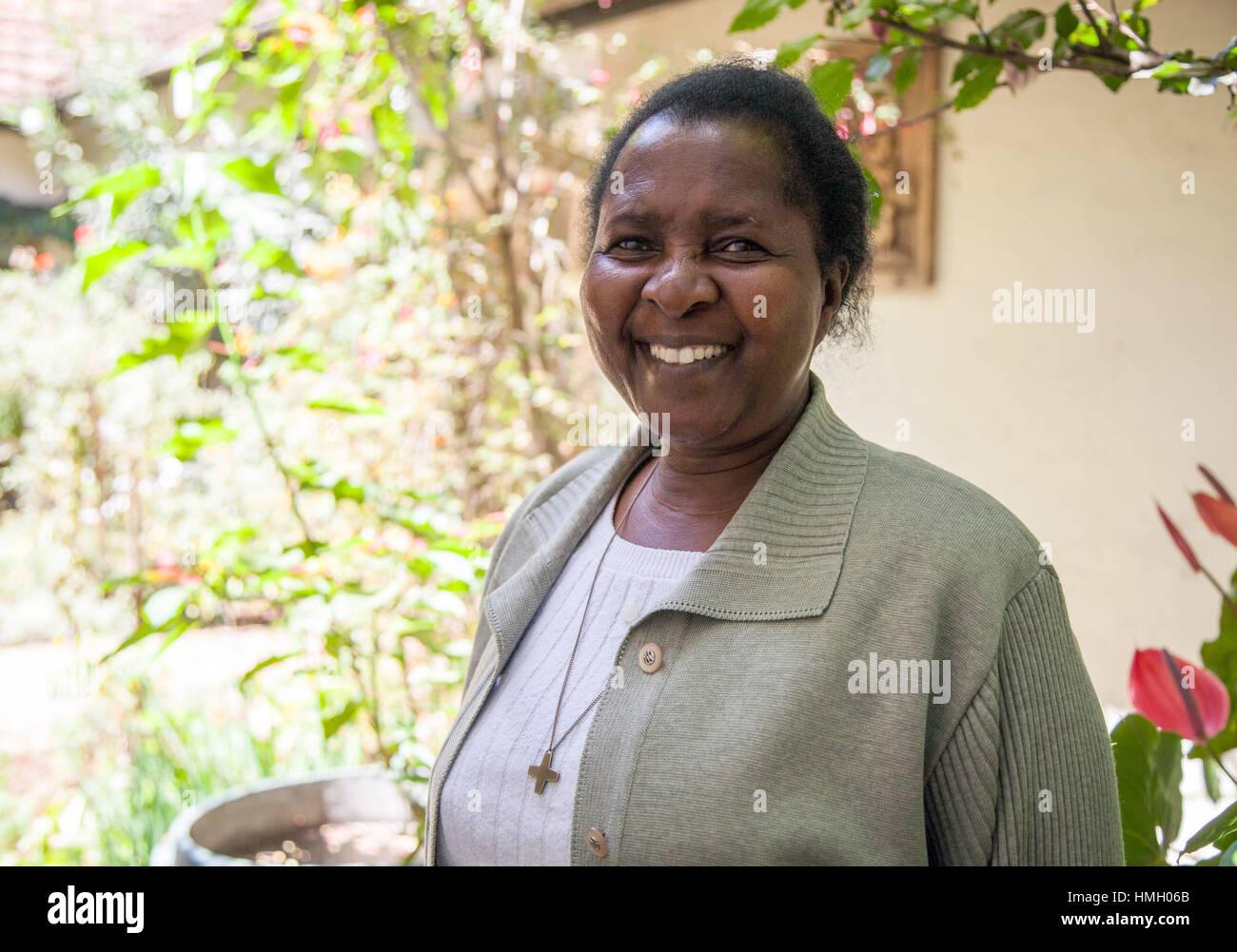 Nairobi, Kenya. 11th Jan, 2017. Ephigenia Gachiri stands in the Catholic Loreto abbey in Nairobi, Kenya, 11 January - Stock Image