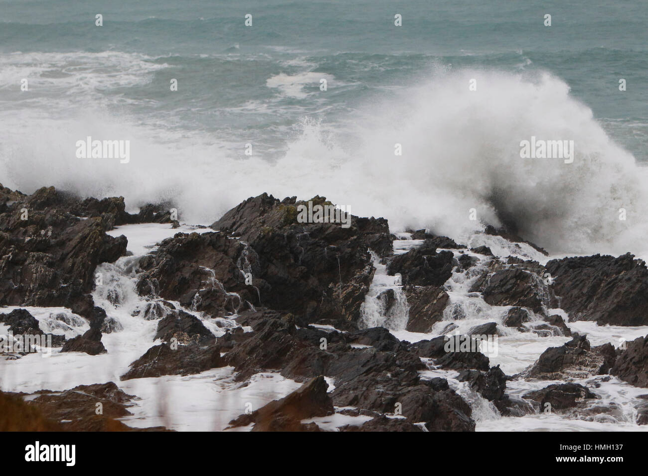 Newquay, Cornwall, UK. 3rd Feb, 2017. UK Weather. Strong gales and rain whips up the sea on the north coast of Cornwall. - Stock Image