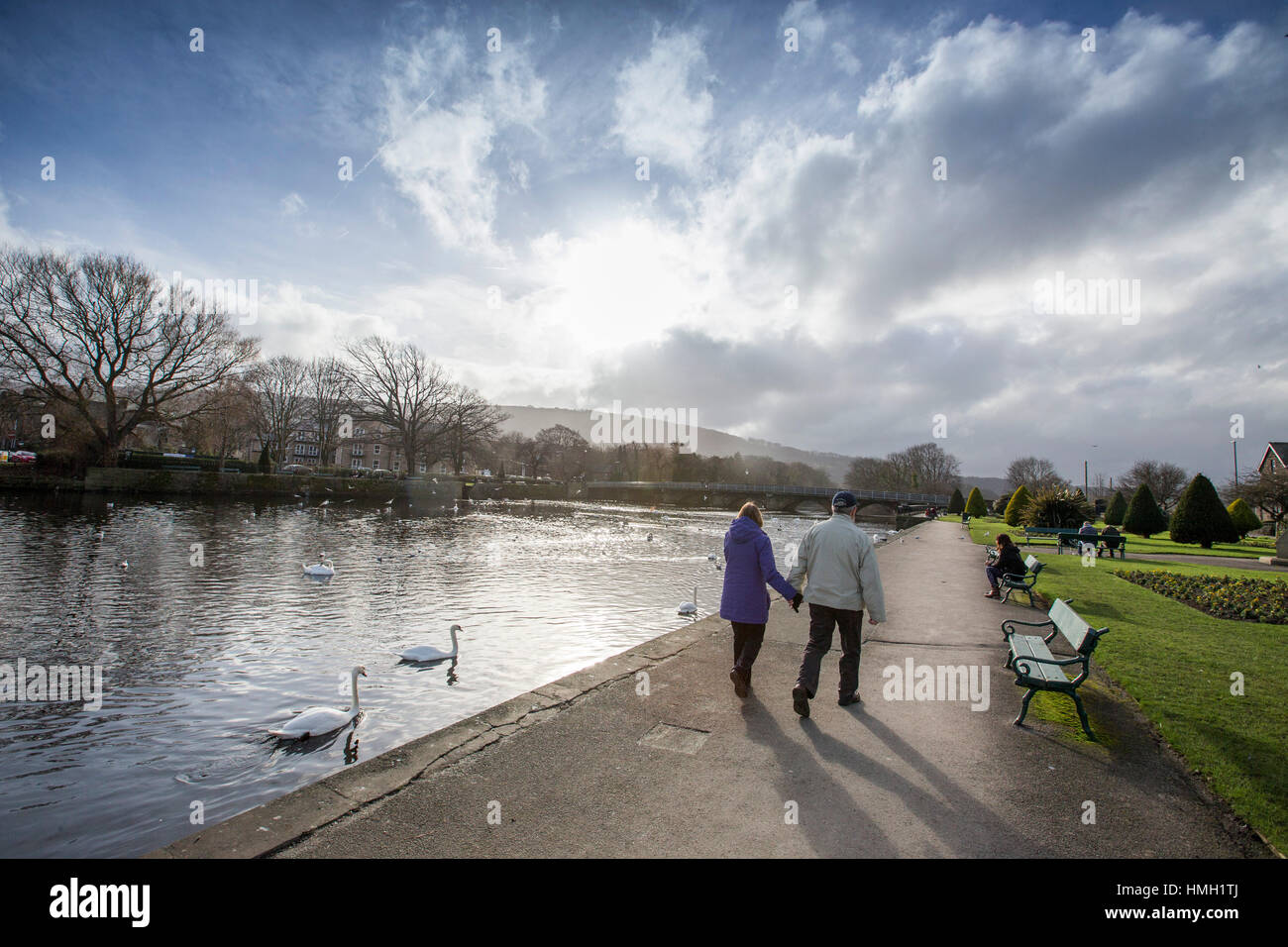 Otley, Yorkshire, UK. 3rd Feb, 2017. UK Weather. People take a lunch time stroll to enjoy the unusually warm sunny - Stock Image