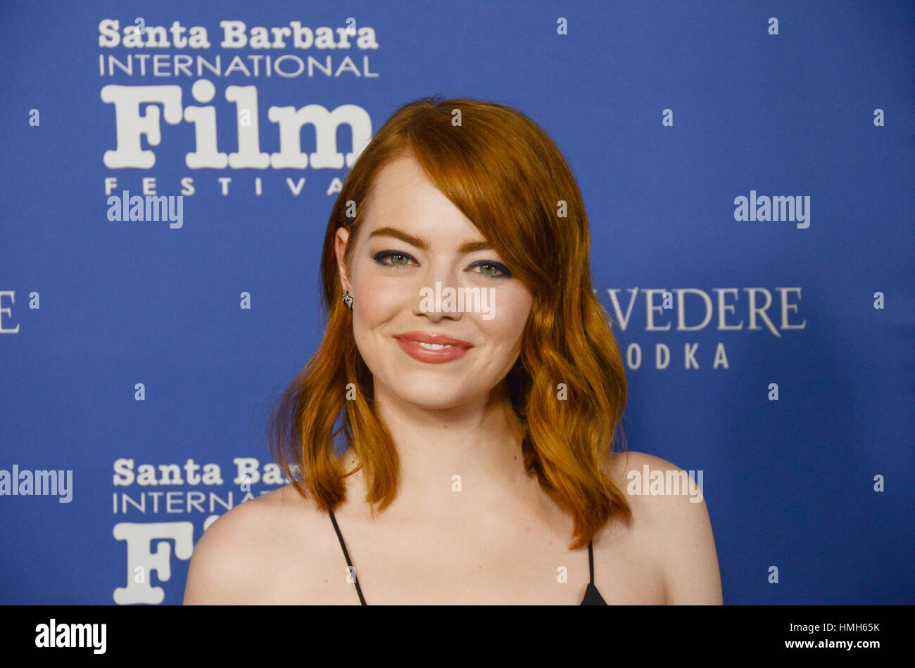 Santa Barbara, USA. 3rd Feb, 2017. Actress Emma Stone attends the Outstanding Performers Tribute honoring Ryan Gosling - Stock Image