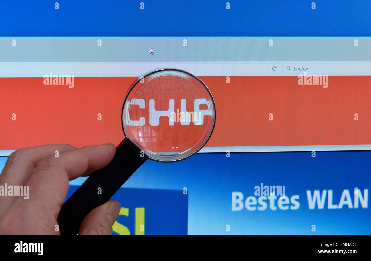 Chip, website, Internet, screen, magnifying glass, hand, Website, Bildschirm, Lupe, Hand - Stock Image