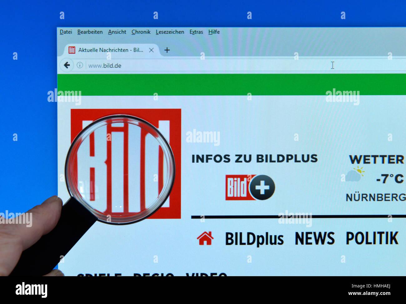Picture, website, Internet, screen, magnifying glass, hand, Bild, Website, Bildschirm, Lupe, Hand - Stock Image