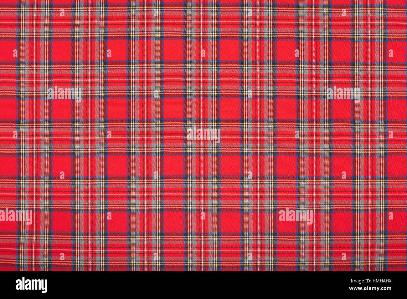 Red tartan, scottish fabric texture background - Stock Image