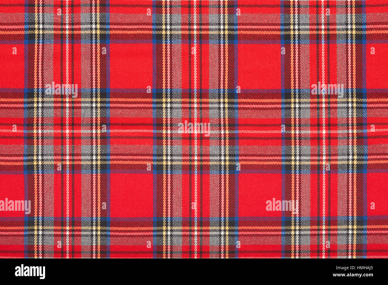Red tartan scottish fabric texture background - Stock Image