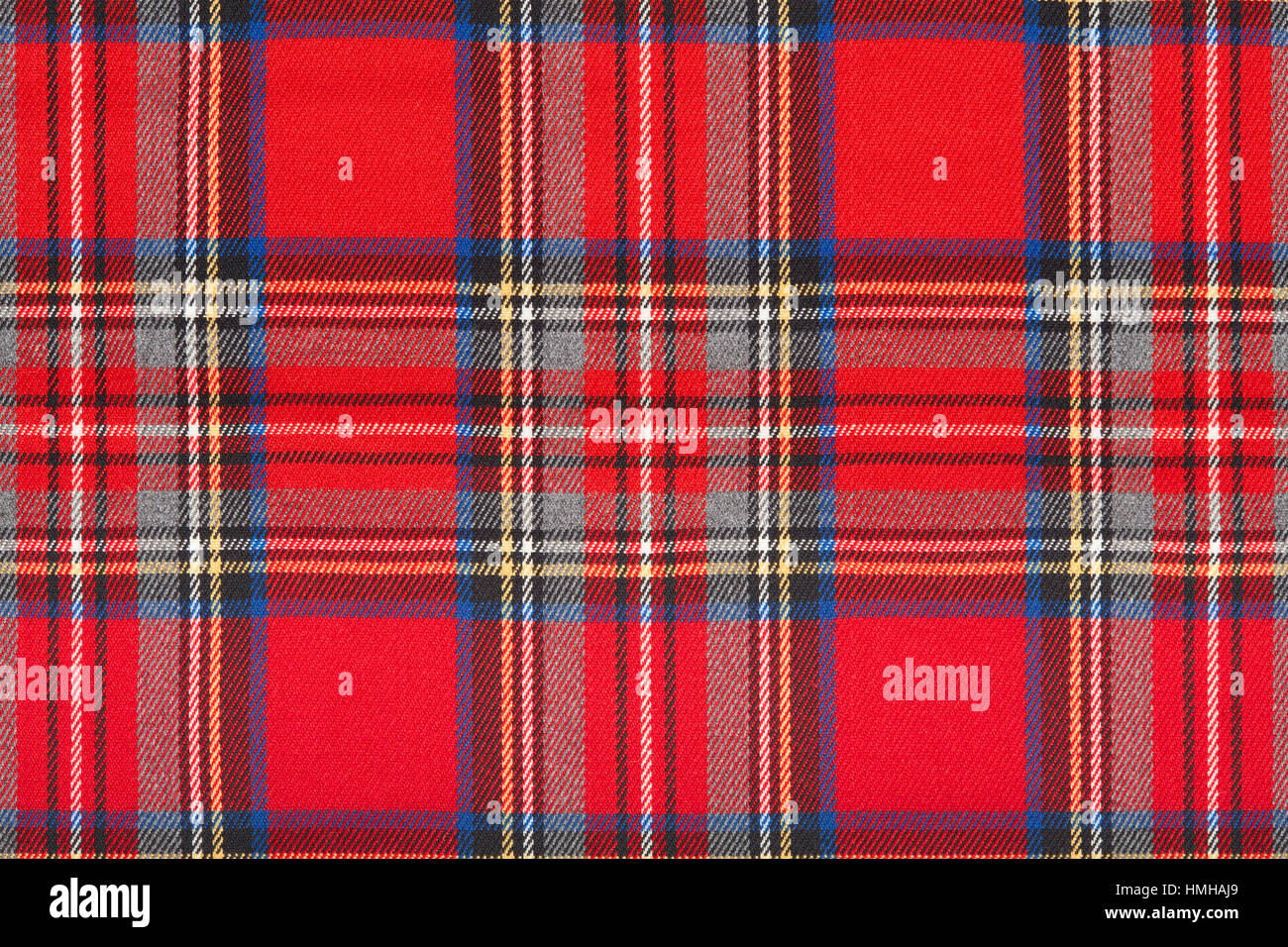 Red tartan, checkered scottish fabric macro, texture background - Stock Image
