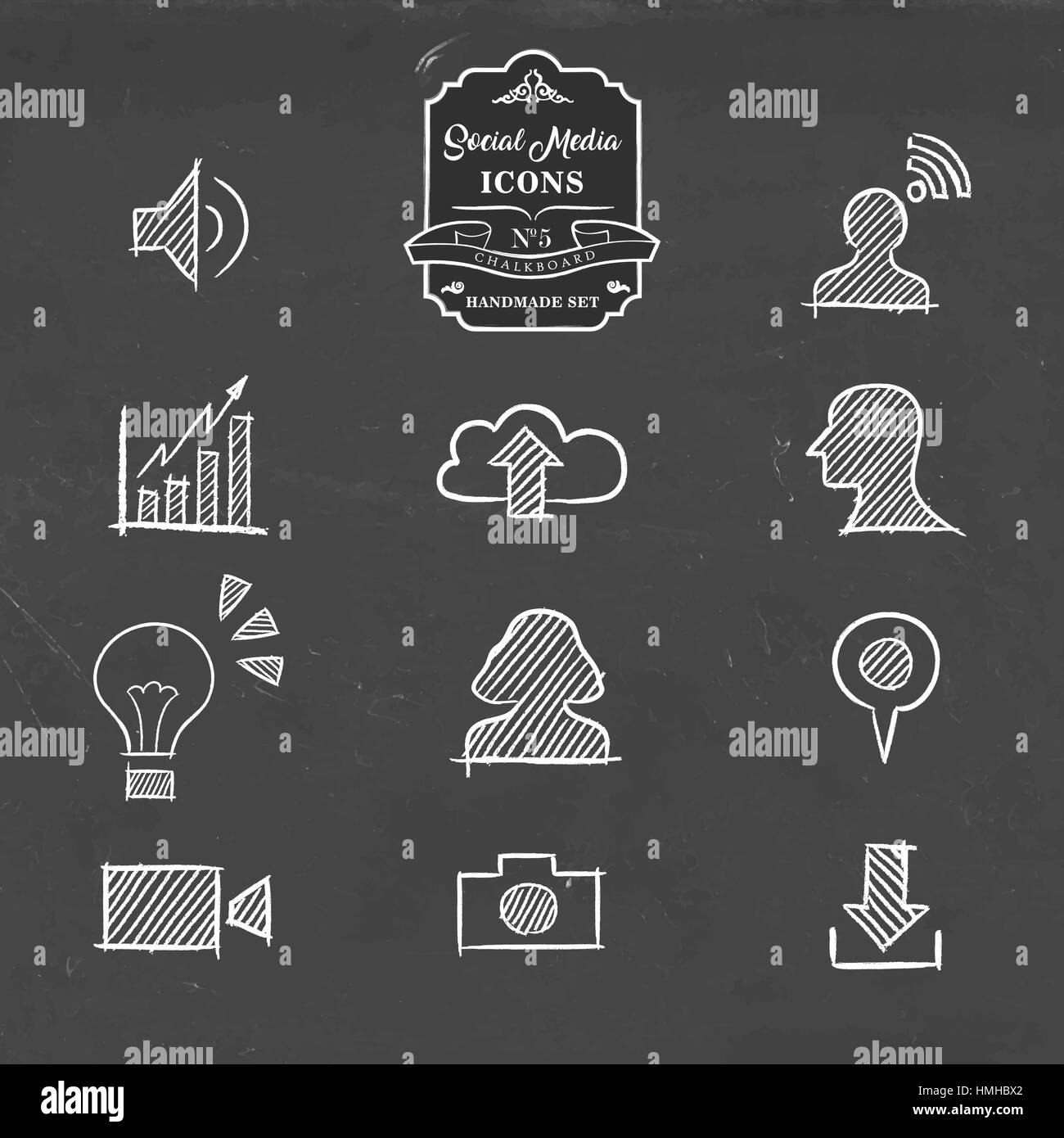 Social Media Hand Drawn Chalkboard Icon Collection, Set Of Online  Networking Symbols. Includes Photo, Download, Video Camera, Cloud Storage  And More.
