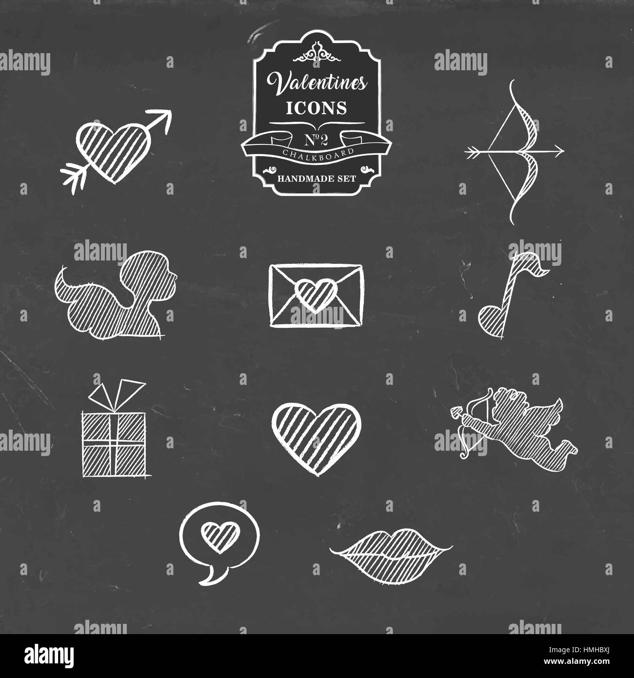 Valentines Day Hand Drawn Chalkboard Icon Collection Set Of Outline