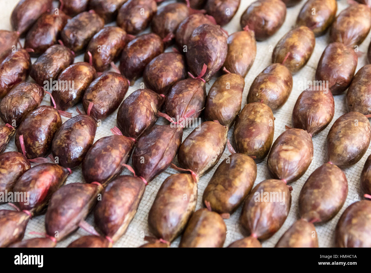Sausage on Sale at City Food Market. Phonsevan, Xieng Khuang Province, Laos - Stock Image