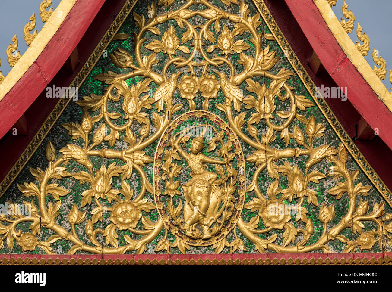 Carved Pediment, Wat Ong Teu, Vientiane, Laos - Stock Image