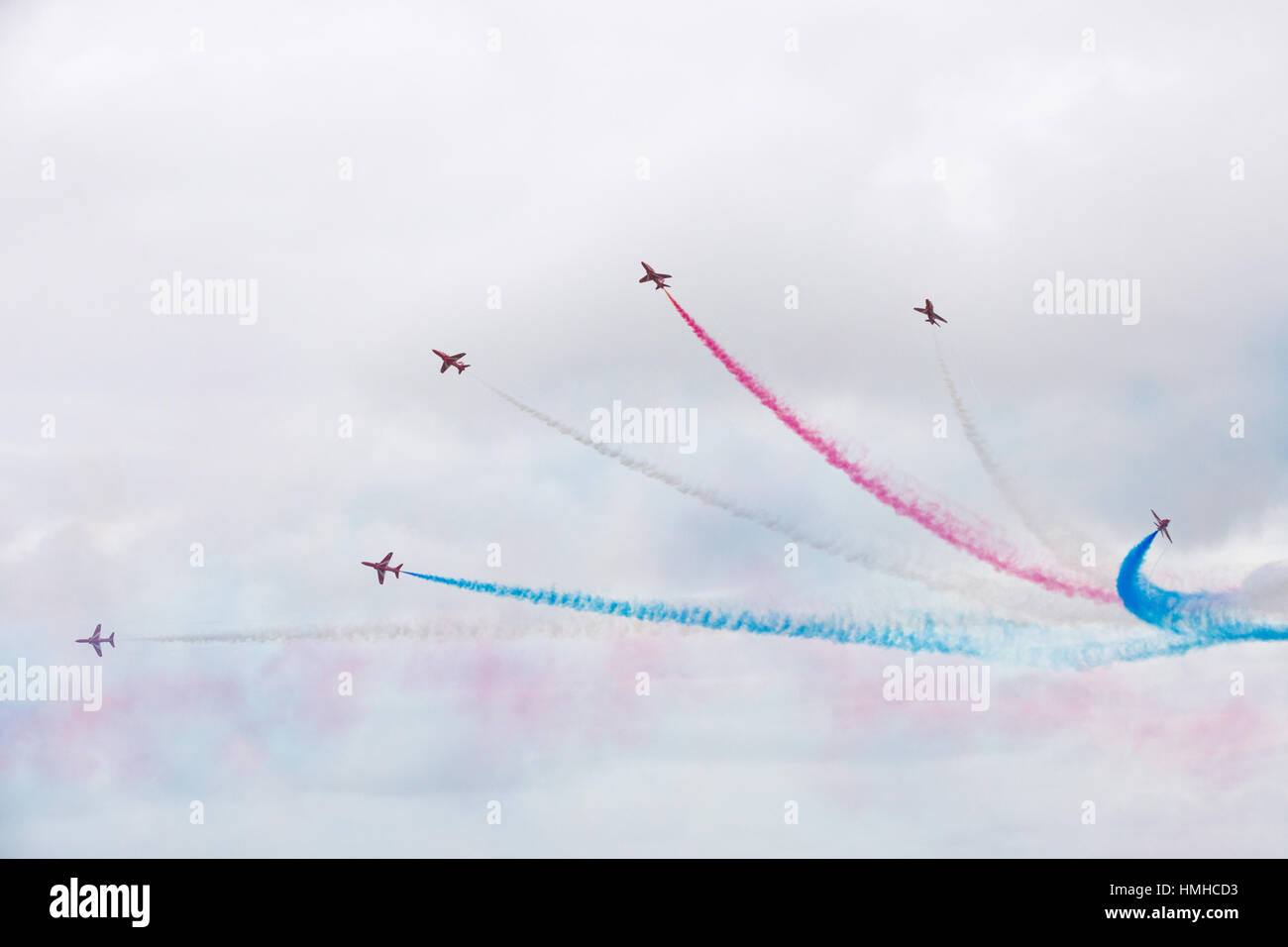Bournemouth, Dorset, ENGLAND - August 21, 2016: Bournemouth Air Festival 2016 - Six Hawk T Red Arrow jets perform - Stock Image