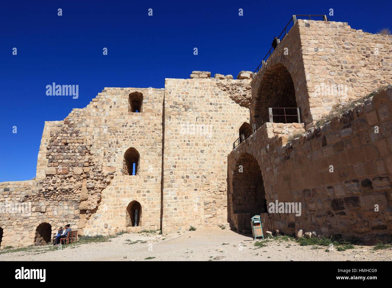 Ruins of the castle of the crusaders of the Kingdom of Jerusalem, Templars castle, Kerak, Jordan Stock Photo