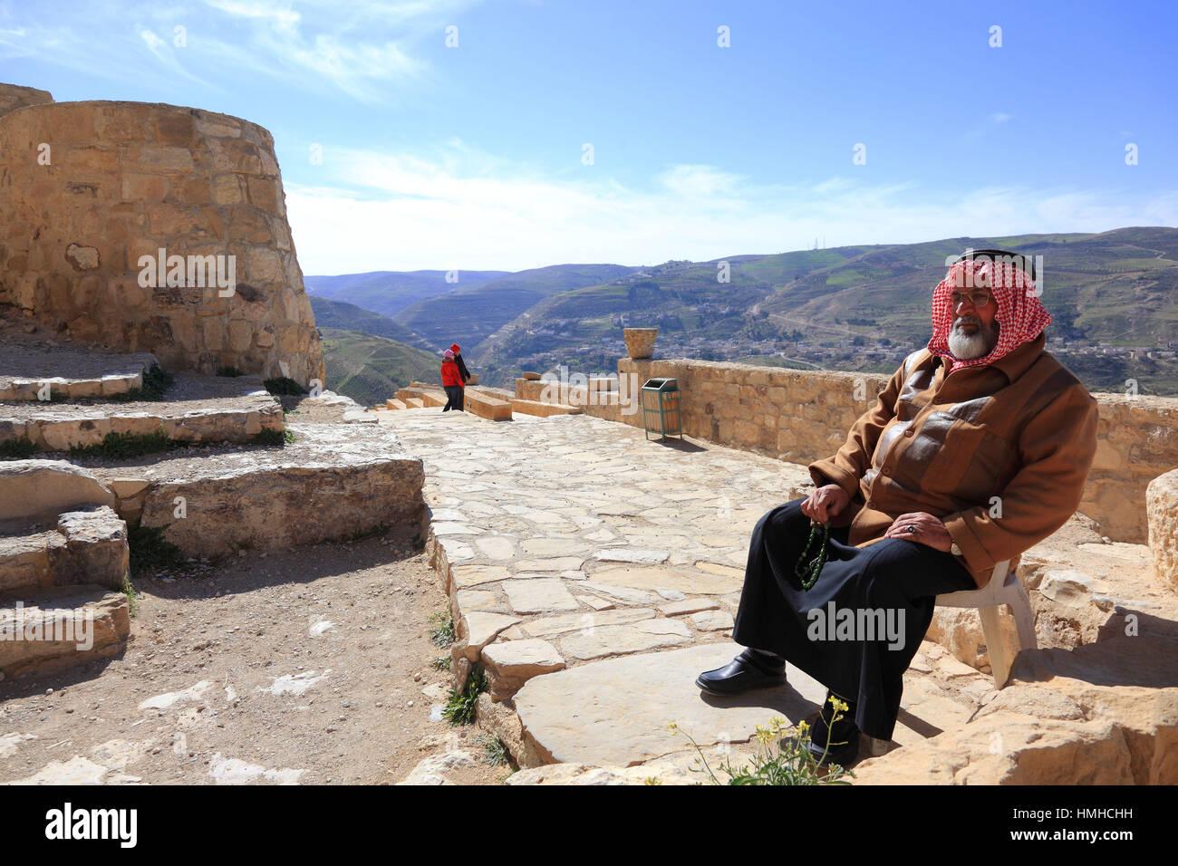 Beduin guard, Ruins of the castle of the crusaders of the Kingdom of Jerusalem, Templars castle, Kerak, Jordan Stock Photo