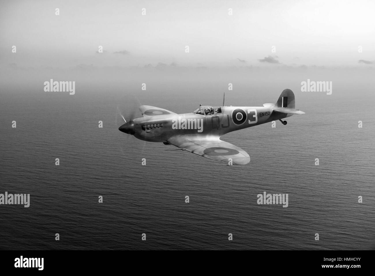 A portrait of Desert Air Force Spitfire IXc EN152 QJ-3 with 92 Squadron in Tunisia in the spring of 1943.   This - Stock Image