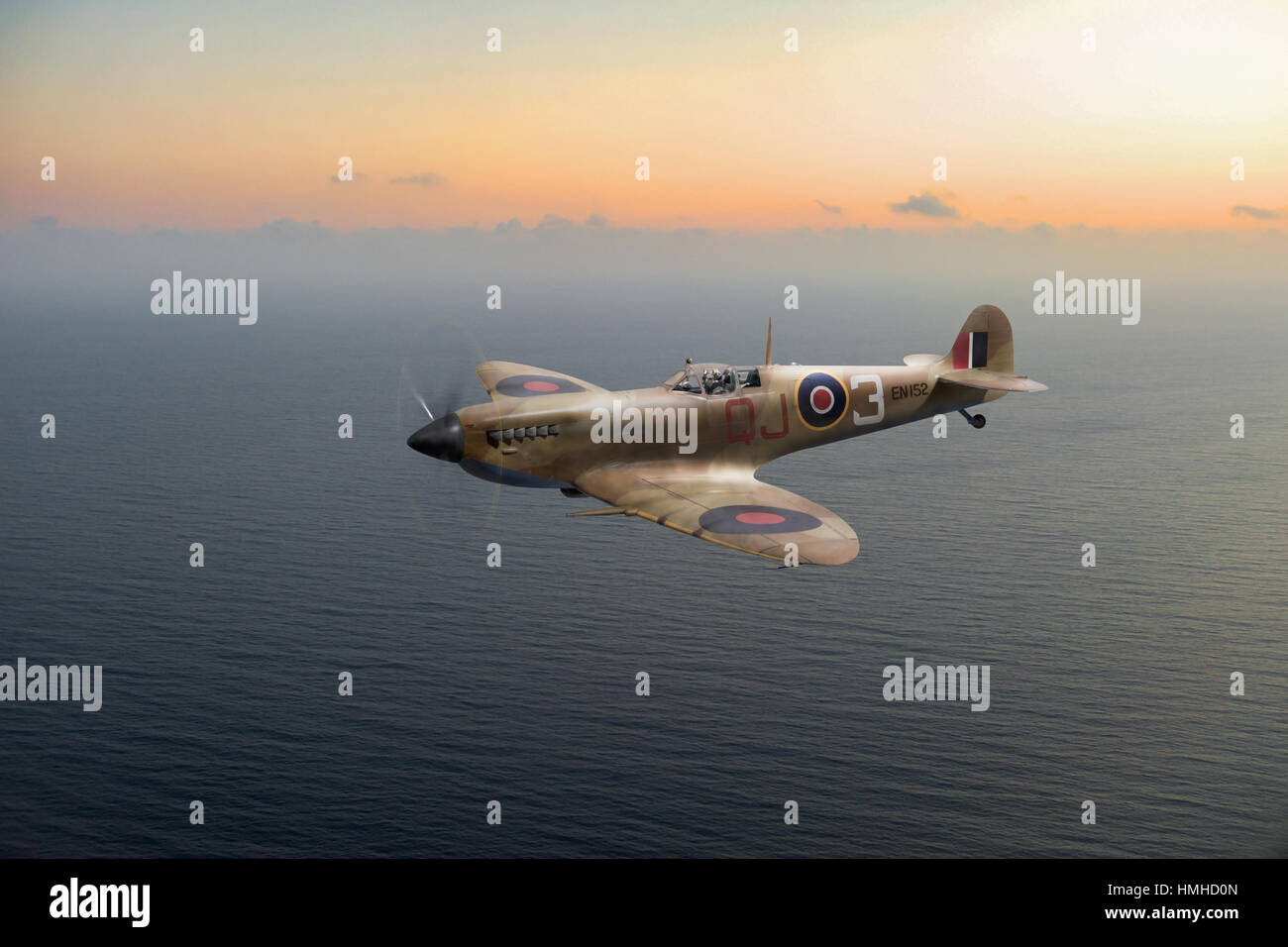 A portrait of Desert Air Force Spitfire IXc EN152 QJ-3 with 92 Squadron in Tunisia in the spring of 1943. - Stock Image