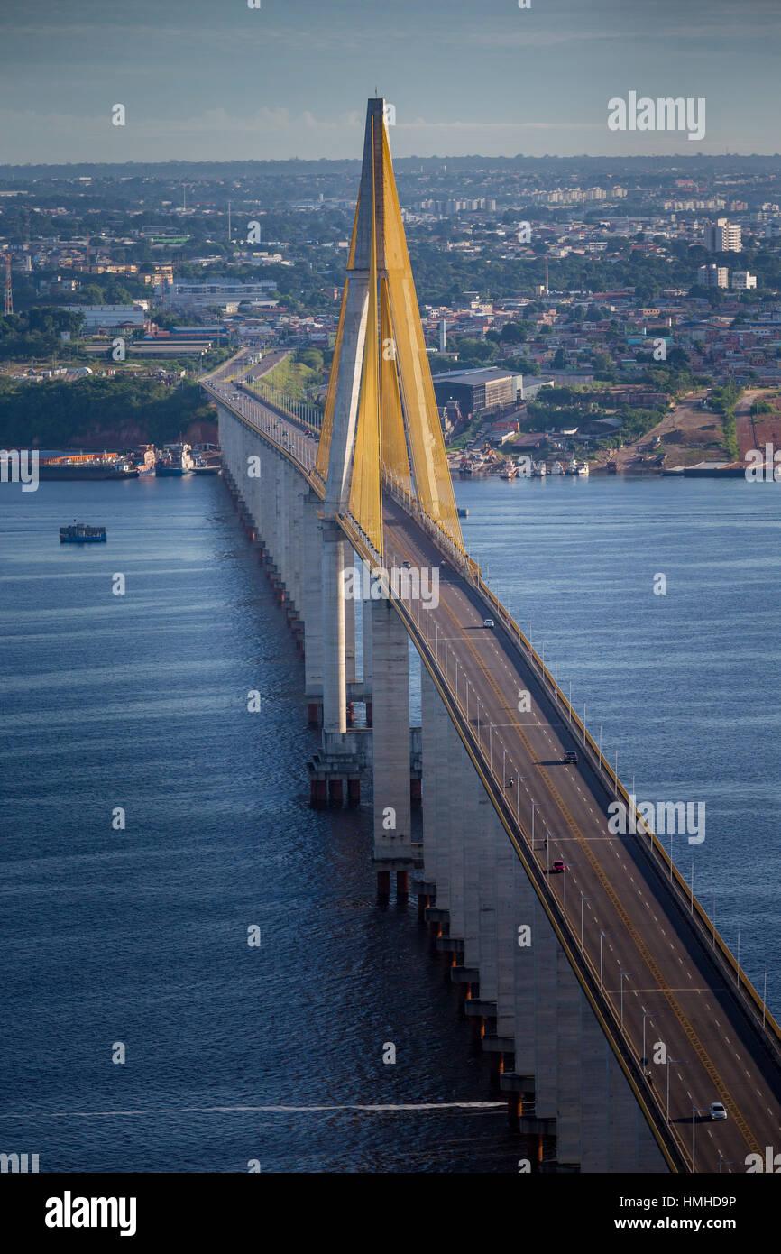 The Rio Negro bridge at Manaus in the Amazon, Brazil over the Rio Negro (Black River). The Rio Negro and the Amazon - Stock Image
