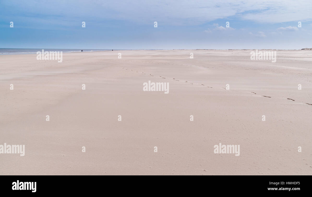 Sandy beach at the coast of the East Frisian Island Norderney, Germany Stock Photo