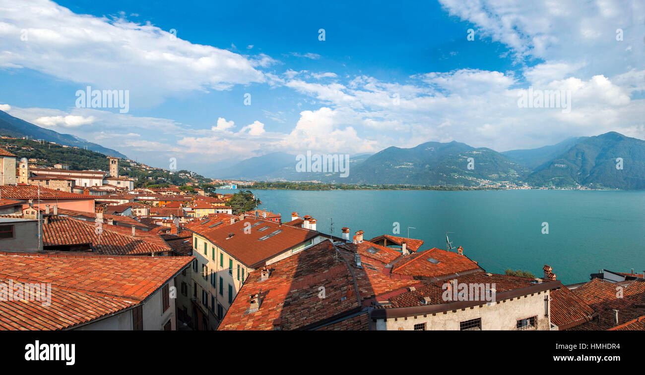 Landscape of Lovere and Lake Iseo from a tower - Bergamo - Stock Image