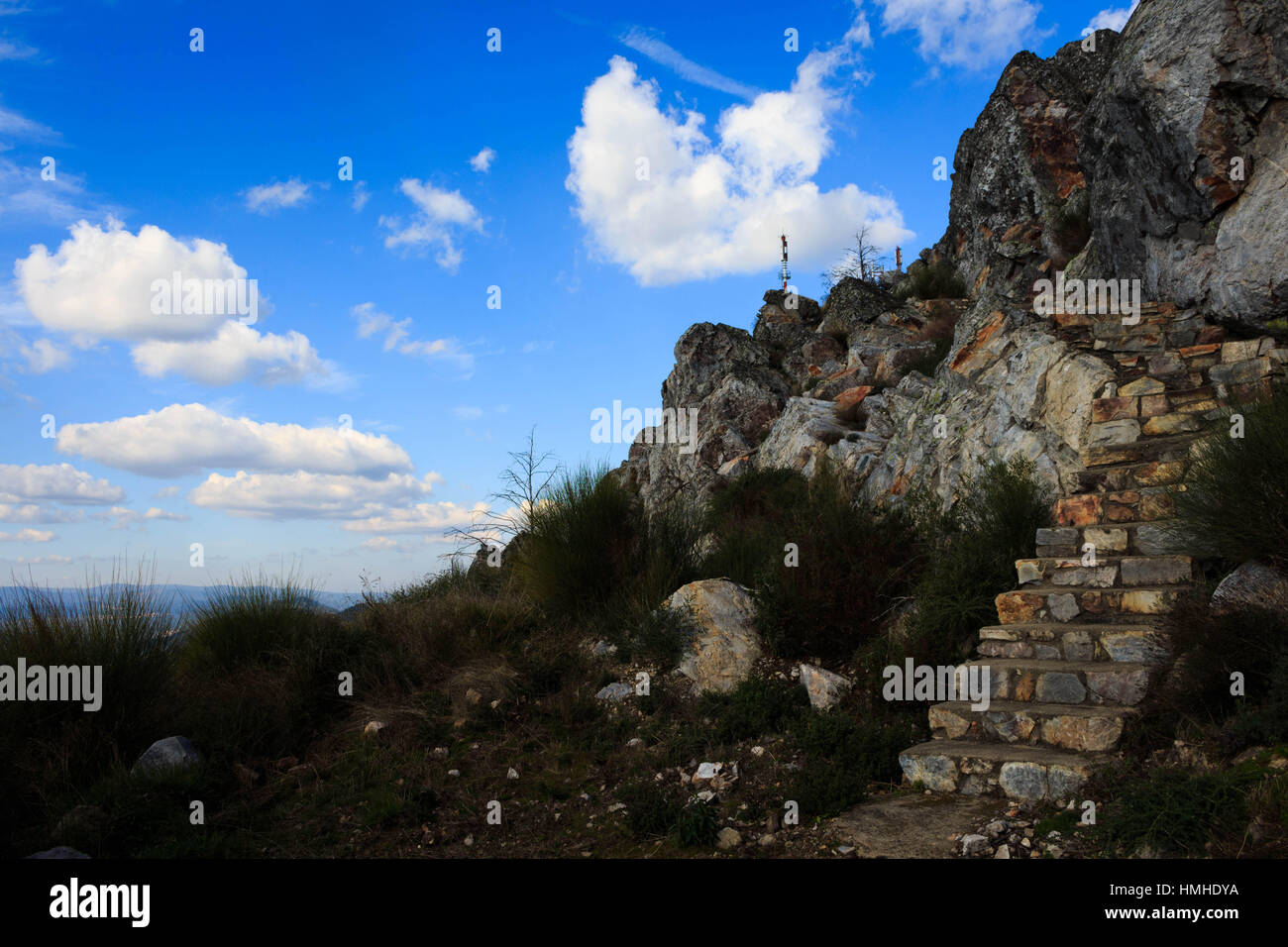 Stairs on a mountain top - Stock Image