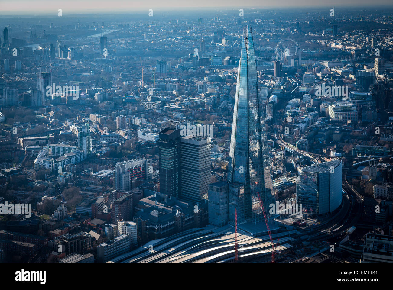 London from above, The Shard and London Eye seen from a helicopter - Stock Image