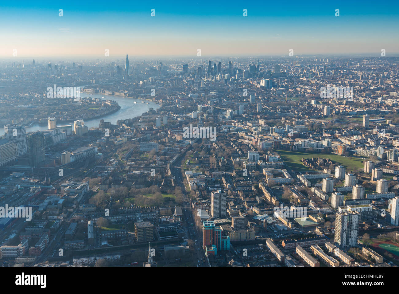 London from above, photo taken from a helicopter - Stock Image