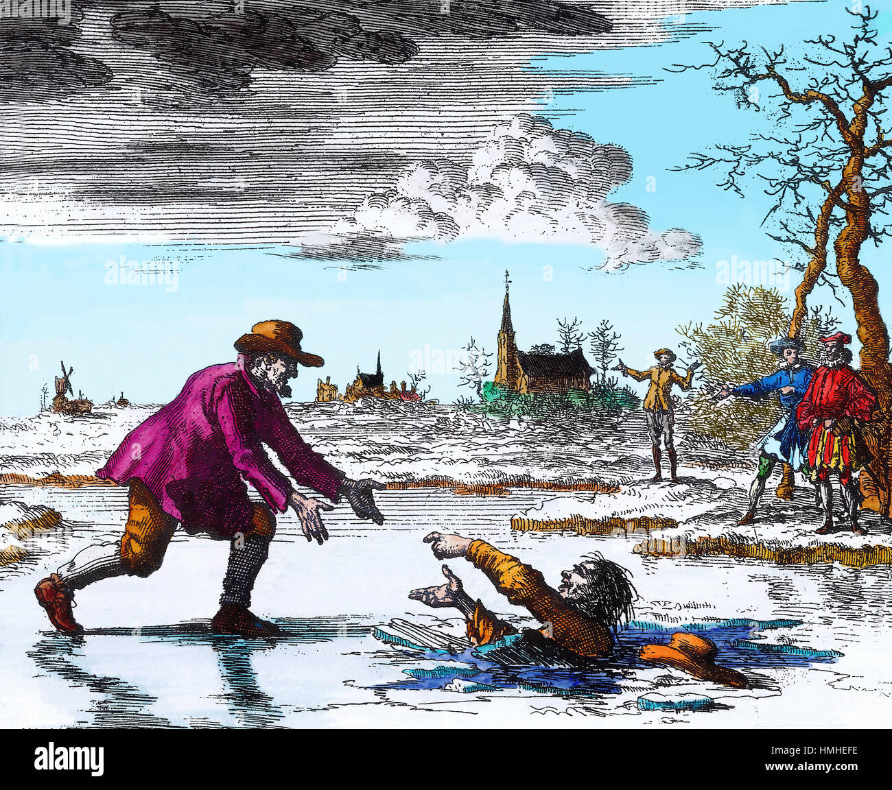 Hand coloured line drawing of the Anabaptist Dirk Willems rescuing his would-be captor from death. - Stock Image