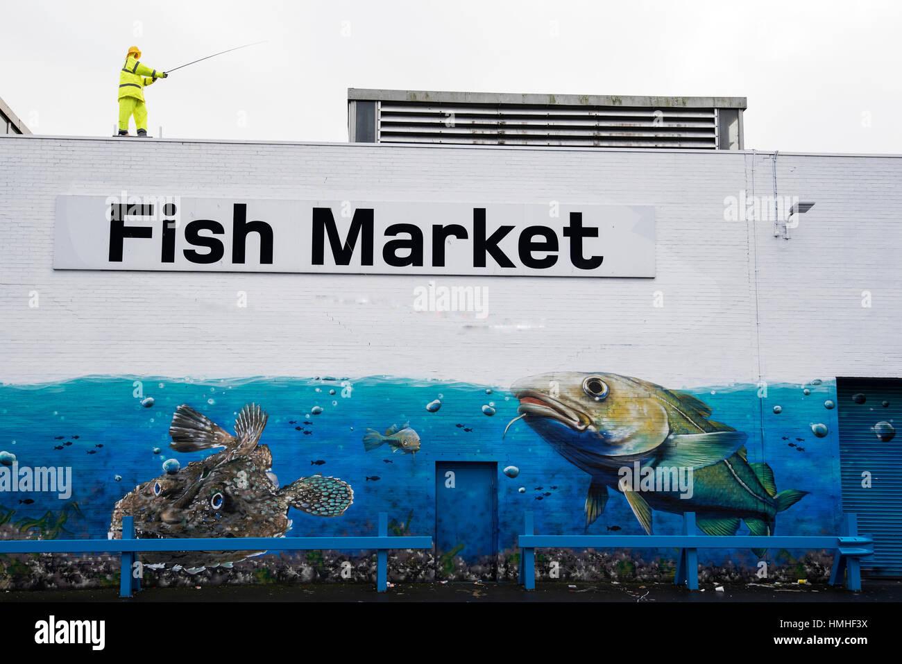 Mural at Glasgow Fish Market - Stock Image