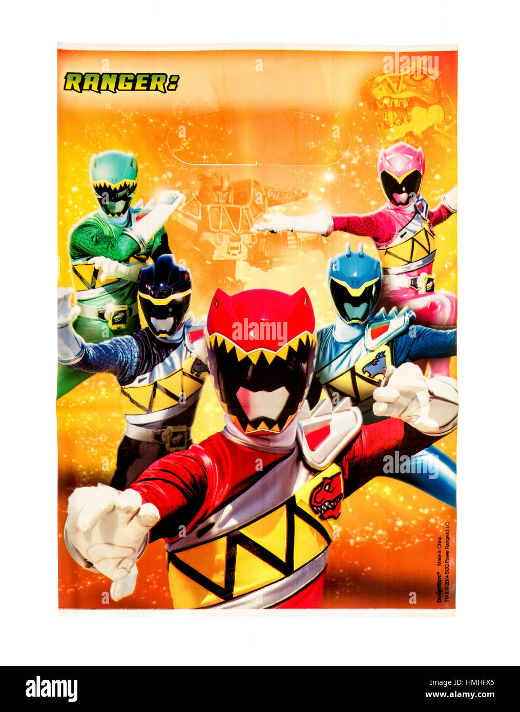 Winneconne, WI -29 January 2017:   Power Rangers loot bag on an isolated background. - Stock Image