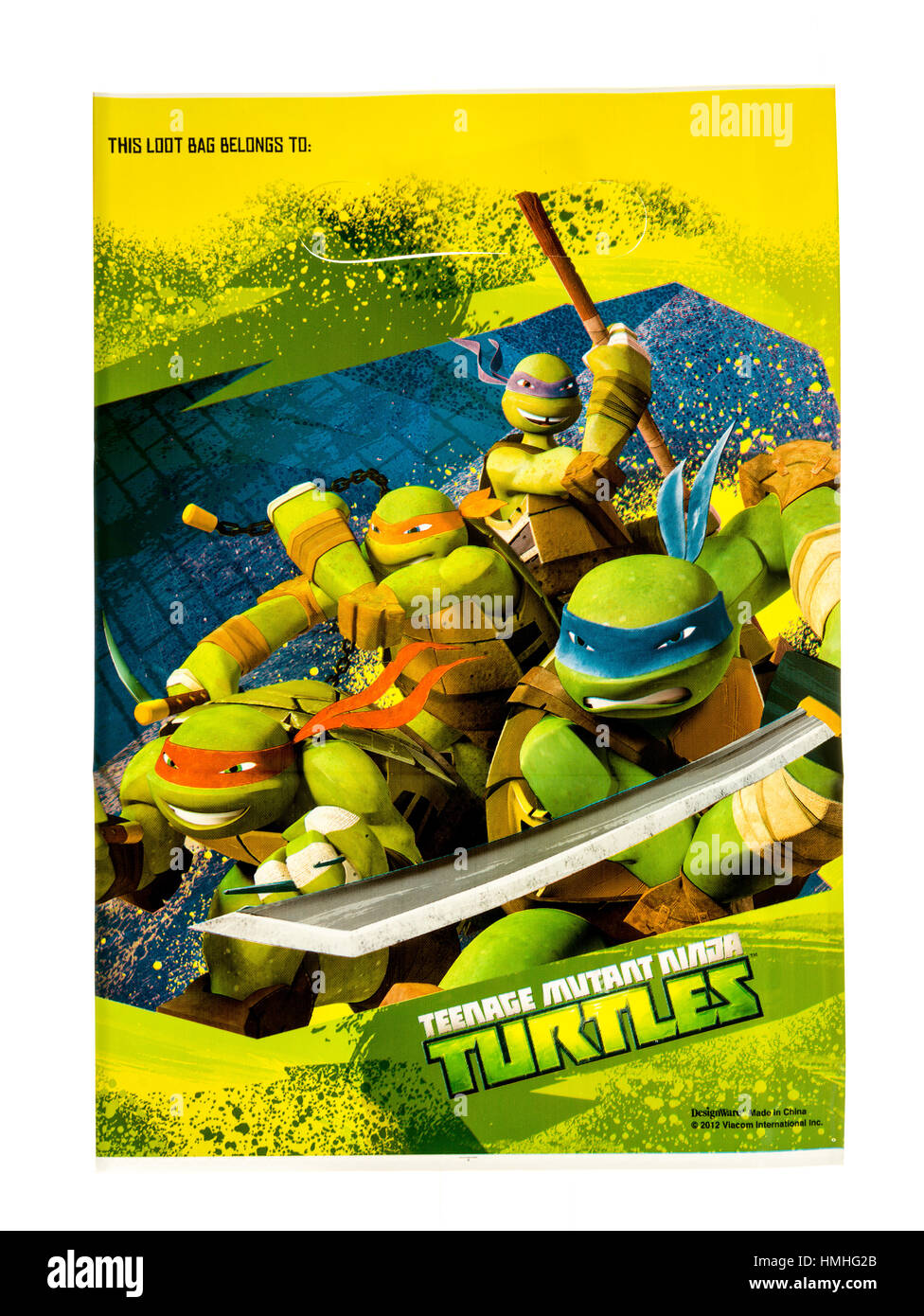 Winneconne, WI -29 January 2017:   Teenage Mutant Ninja Turtles loot bag on an isolated background. - Stock Image