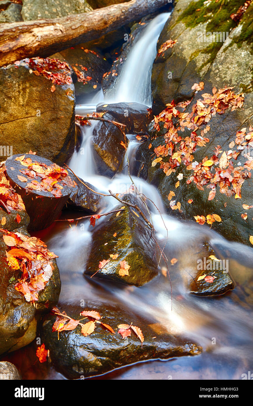 Close Up View of Small Waterfall on the Black River During Fall Season, Long Valley, Morris County, New Jersey Stock Photo