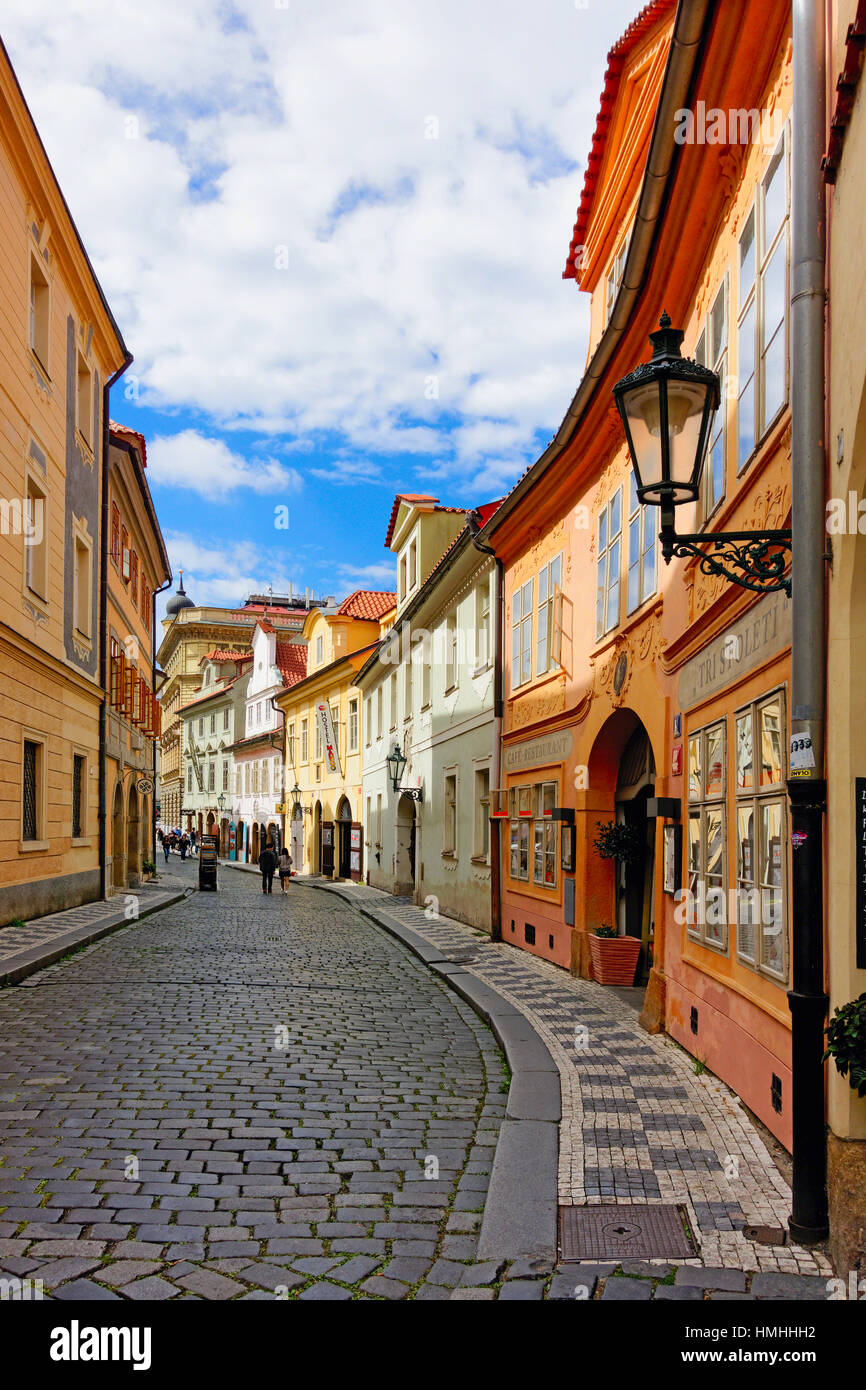 Cobblestone Misenska Street in Prague, Czech Republic - Stock Image