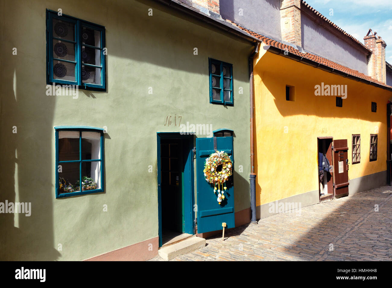 Colorful Tiny Houses of Golden Lane, Prague Castle, Prague, Czech Republic - Stock Image