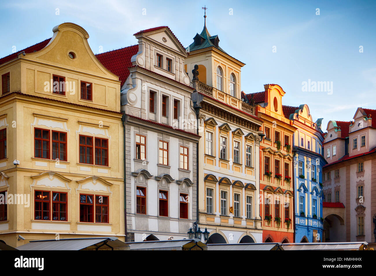 Low Angle View of Colorful Houses on Old Town Square, Prague, Czech Republic - Stock Image
