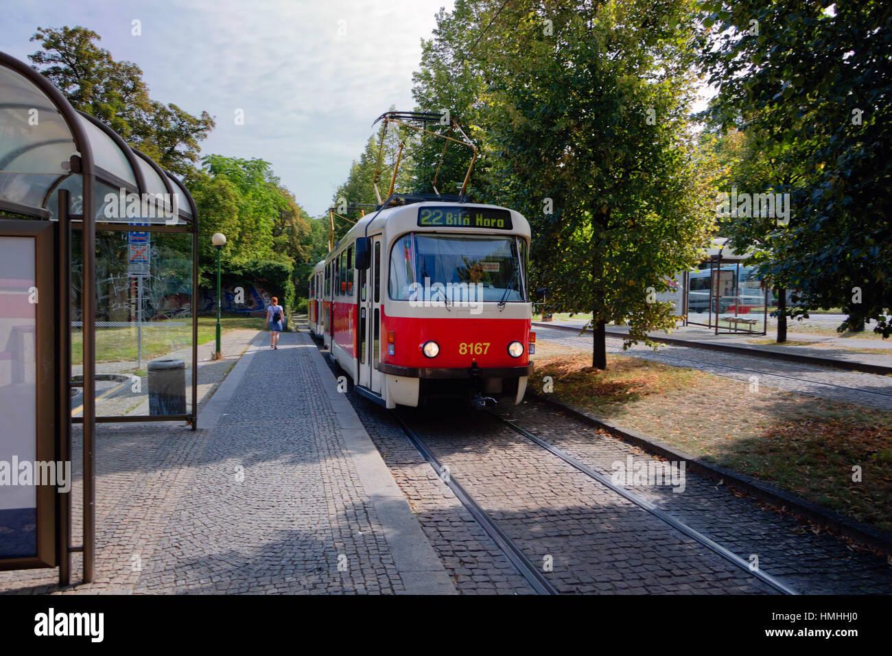 Prague tram line 22 Stop in the Castle District, Prague, Czech Republic - Stock Image