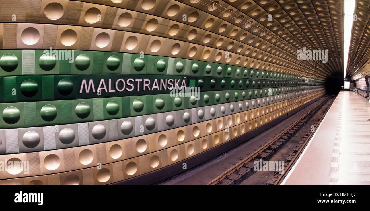 Malostranska Metro Station Platform, Prague, Czech Republic - Stock Image