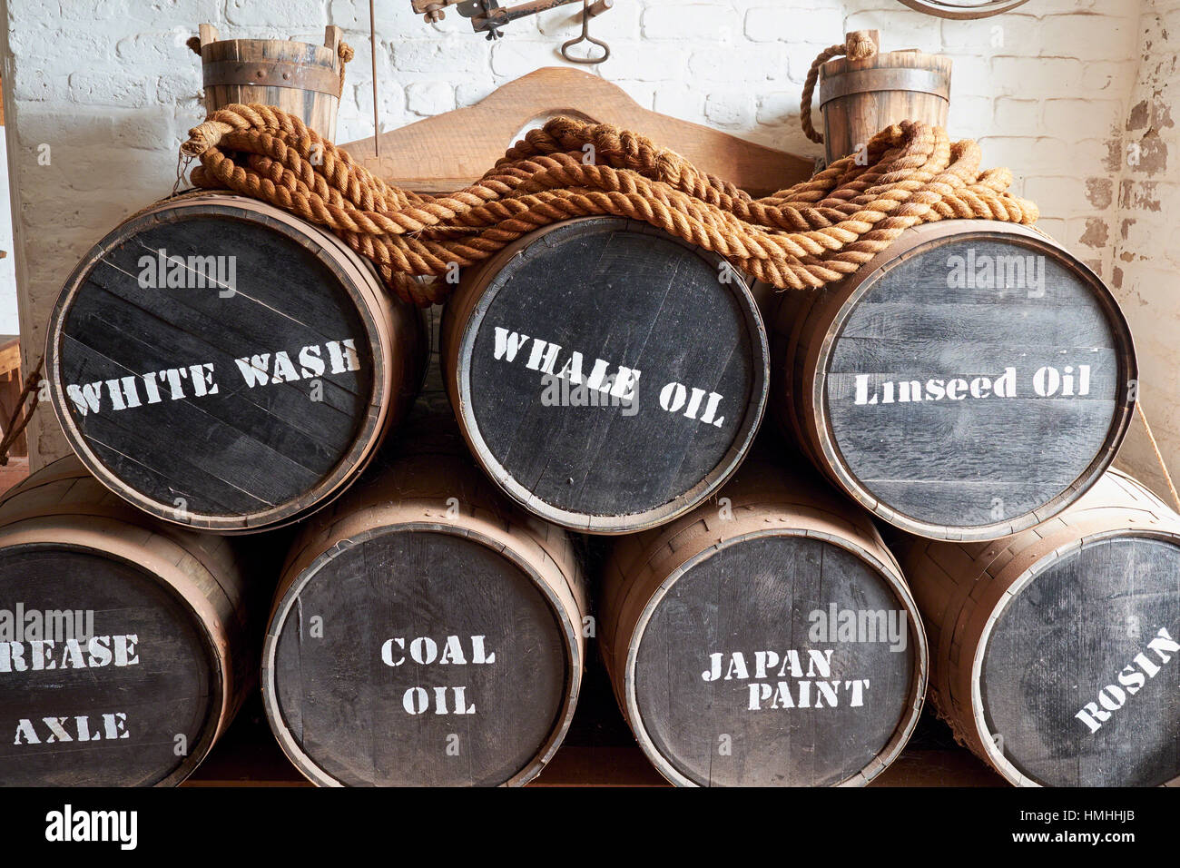 Close Up View of Civil War Era Military Supply in Wooden Barrels, Ft. Clinch, Florida - Stock Image
