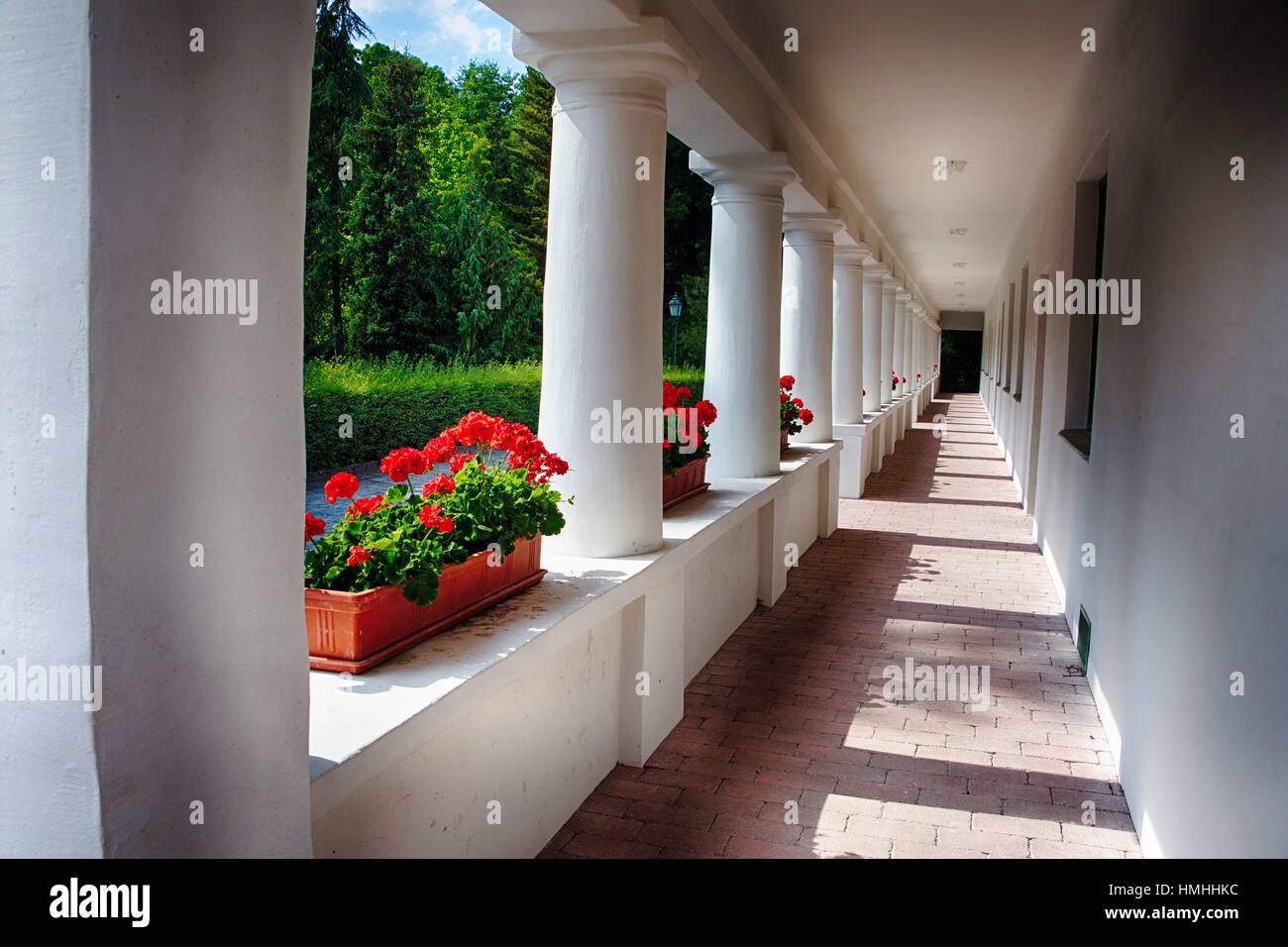View of a Traditional Hungarian Country House with a Veranda, Vacratot, Hungary - Stock Image